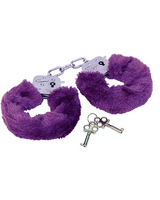 Police handcuffs with purple fur