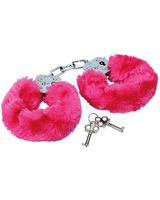 Police handcuffs with pink fur