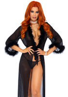 Robe & string panty black