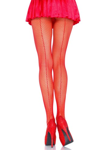 Fishnet panthyhose with backseam red