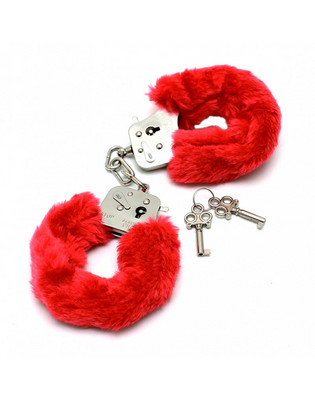 Police handcuffs with red fur