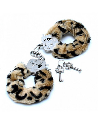 Police handcuffs with leopard fur