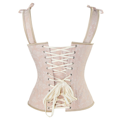 Vintage Pink Lace Up Steel Boned Vest Corset